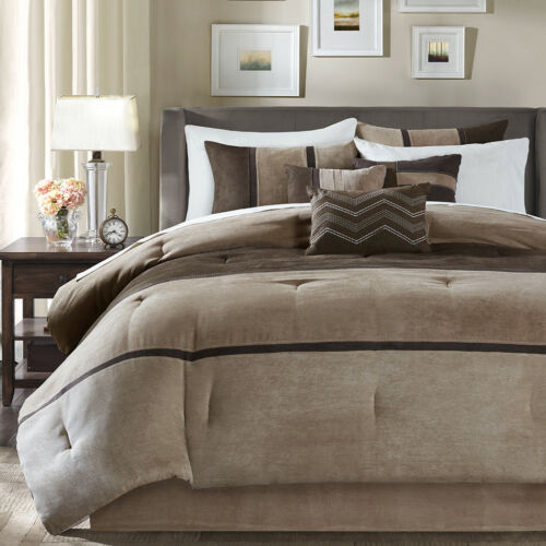 BEAUTIFUL ULTRA SOFT COZY BROWN TAN TAUPE CABIN LODGE COMFORTER SET KING QUEEN