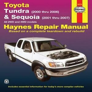 haynes repair manual toyota tundra 2000 thru 2006 and sequoia rh ebay com 2007 toyota tundra repair manual pdf 2010 toyota tundra manual pdf