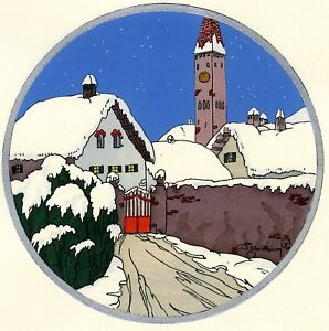 1930s-French-Pochoir-Max-Ninon-Print-Art-Deco-Winterscape-Old-Tower-House-Alley