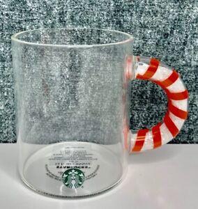 Starbucks 2020 Christmas CANDY CANE  HANDLE GLASS mug 12 oz