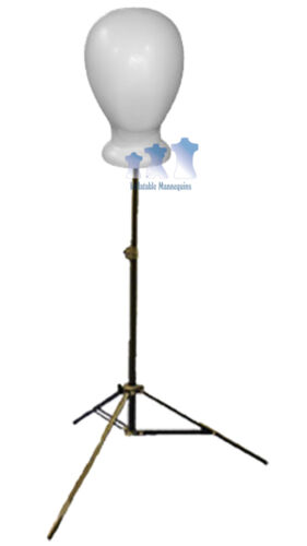 Blank White Unisex Head Styrofoam and Adjustable Tripod Stand