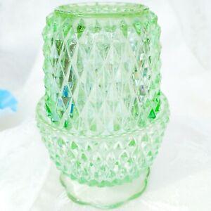 Vintage-Indiana-Glass-Seafoam-Green-Diamond-Point-Fairy-Lamp-5-034-USA