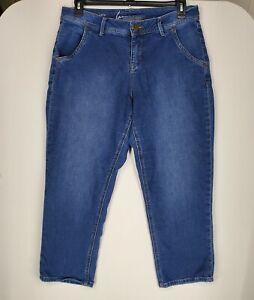 Lane-Bryant-Womens-size-16-Dark-Blue-Denim-Capri-Stretch-Jeans-Zipper-Closure