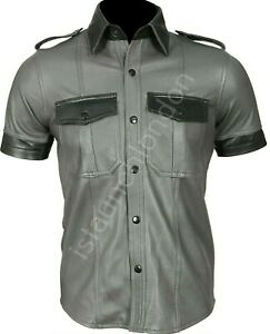 Hot-Para-Hombre-de-Cuero-Genuino-Real-Oveja-negra-gris-uniforme-de-policia-Camisa-bluf-Gay