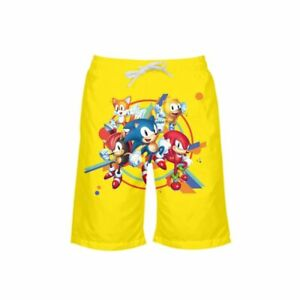 The Hedgehog Sonic Print Children Shorts Swim Beach Trunks Boys