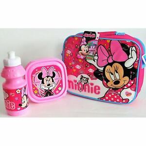 DISNEY Minnie Mouse 3 Pezzi scatola borsa pranzo e bottiglia SET PER LA SCUOLA TERMICO 173