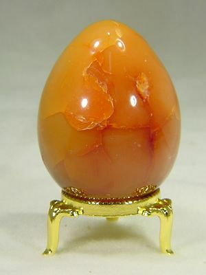 BUTW carnelian agate 56mm X 44mm egg lapidary gemstone with stand 6487D