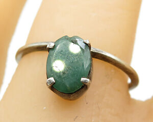 925-Sterling-Silver-Vintage-Minimalist-Emerald-Solitaire-Ring-Sz-7-5-R5609