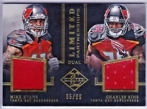 reputable site 4d688 45cbb Details about MIKE EVANS CHARLES SIMS 2014 Panini Limited DUAL PARTNERSHIPS  Jersey SP 5/99