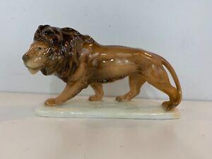 Vintage-Cortendorf-Bavaria-Porcelain-Lion-Figurine-on-Base