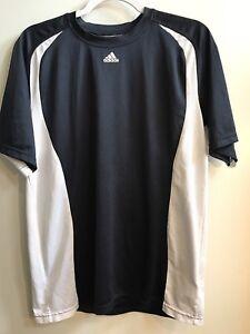 Details about Adidas Climalite Dri Fit Black White Shirt Size M Medium