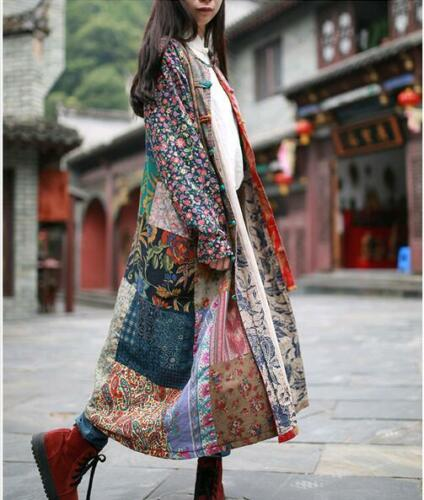 Folk Custom Womens Cotton Linen Maxi Long Sleeved Floral Loose Casual Dress Coat