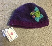 Lost Horizon Kid's Beanie Size Large Xl Purple Floral Handmade Nepal