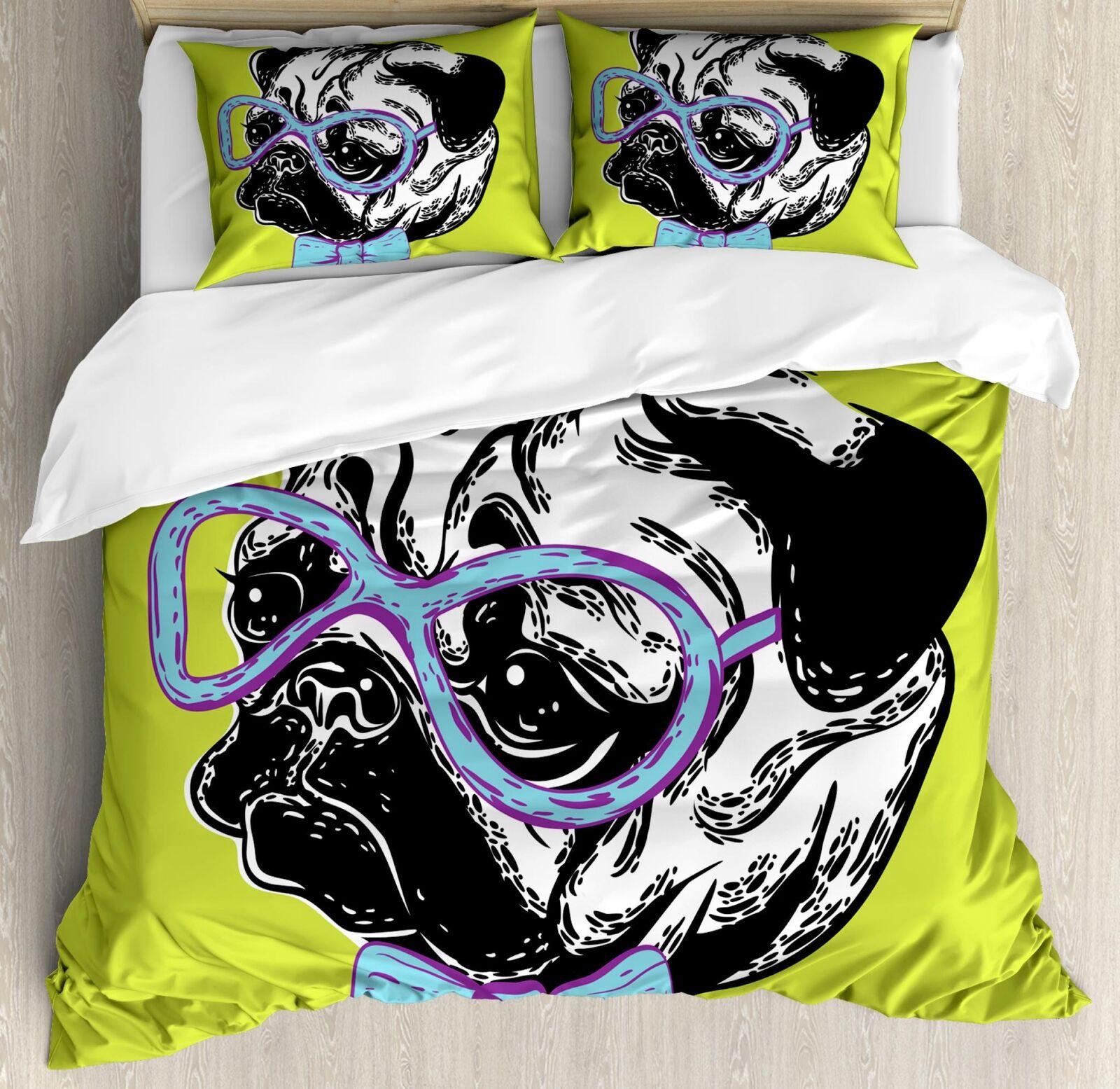Pug Duvet Cover Set Twin Queen King Größes with Pillow Shams Bedding