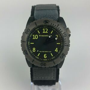 Freestyle-Mens-A126-12-100-Maters-H2O-Ballistic-Diver-Watch-Black-Yellow