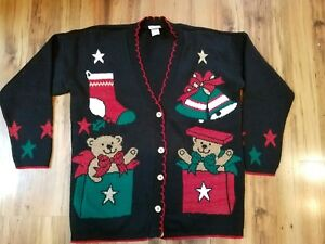 Vintage-Ugly-Christmas-Sweater-Sz-M-1990s-TEDDY-BEARS-METALLIC-THREAD-Tacky-Win