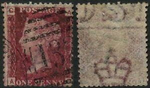 PENNY RED Plate 157 AG MARGINAL WATERMARK in STAMP...132 NUMERAL BRIGHTON