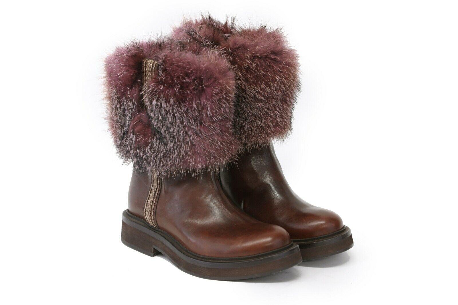 Nwob  3795 BRUNELLO CUCINELLI 100% Cuero botas al tobillo con cuentas ribete de piel + 37 7US A191
