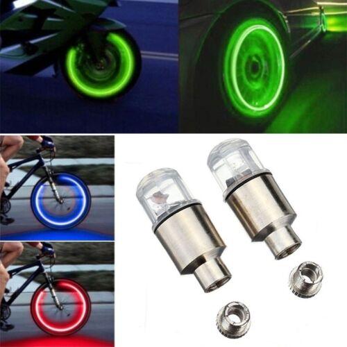 2x  Bike Bicycle Car Auto LED Tire Valve Stem Caps Neon Light Auto Accessories