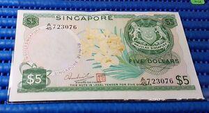 Error-Singapore-Orchid-Series-5-Note-034-Prefix-Number-45-Overprint-on-Dollars-034