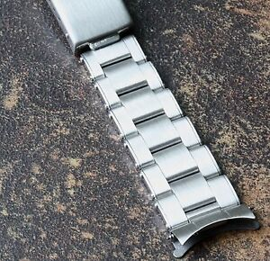 Heavy-solid-steel-Oyster-watch-bracelet-19mm-curved-ends-adjustable-length