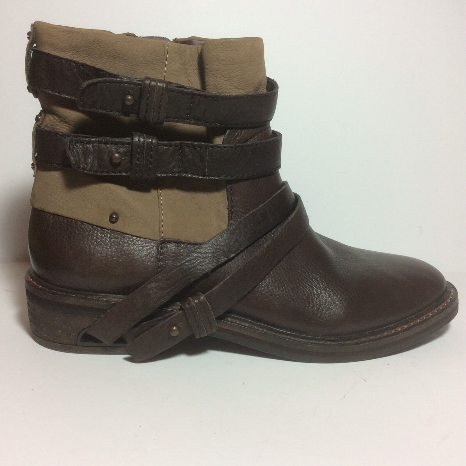 NEW  250 Dolce Vita Kiera Belted Round Toe Leather Ankle Boot Brown Sz 9