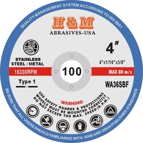 "50 Pro 4/"" x 1//16/"" x 5//8/"" H/&M Abrasive Cutting Wheel Blades Cut-off Discs Type 1"