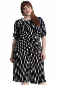 82a1e4bfcea25 New Womens Plus Size Jumpsuit Ladies Culottes Polka Dot Spot Print ...