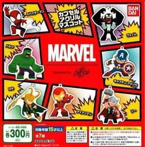 BANDAI-MARVEL-capsule-acrylic-mascot-Gashapon-7-set-mascot-capsule-toys-Japan
