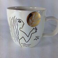 Starbucks 2013 Anniversary Mug Cup Etched Mermaid Siren White Gold 12 oz NEW