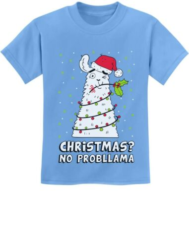 Christmas No PRobllama Llama Ugly Sweater Funny Youth Kids T-Shirt Gift Idea