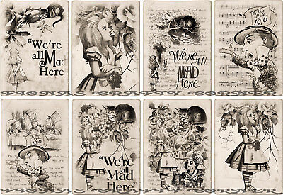8 ALICE IN WONDERLAND STORY MAD HATTER HANG 49 GIFT TAGS FOR SCRAPBOOK PAGES