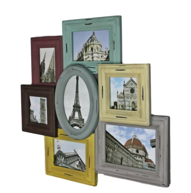 Picture Frame Collage Multicoloured Wood Wall Heart Multi Colour