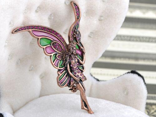 Vintage Copper Tone Fairy Flying Crystal Rhinestone Fashion Costume Pins Brooch