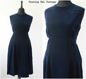 Vintage-1960s-Cocktail-Dress-Blue-Navy-Velvet-Evening-Mod-Scooter-RETRO-M-12-14