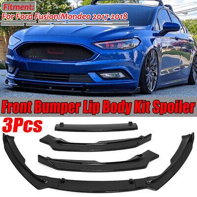 For 2017 2018 Ford Fusion Mondeo Glossy Black Front Bumper Chin Spoiler Lip 3Pcs