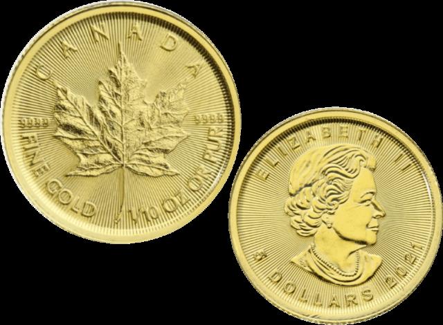 RANDOM YEAR 1/10TH OZ GOLD CANADA MAPLE LEAF BULLION COIN BRAND NEW