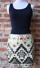 EXPRESS Aztec Sequin Print Mini Skirt Turquoise Pink Fully Lined Small S