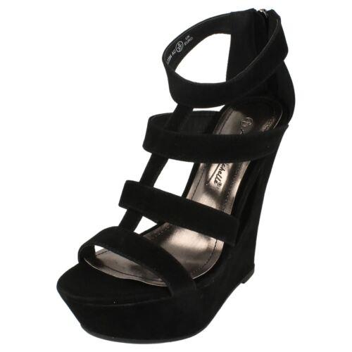 *SALE* Anne Michelle L3394 Ladies Black Faux Suede Unique Wedge Heel Shoes