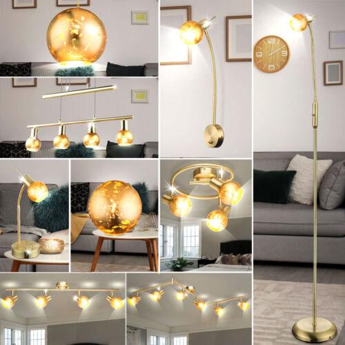 Decken Steh Tisch Pendel Hänge Wand Spot Lampe GOLD Messing Glas Design Leuchte