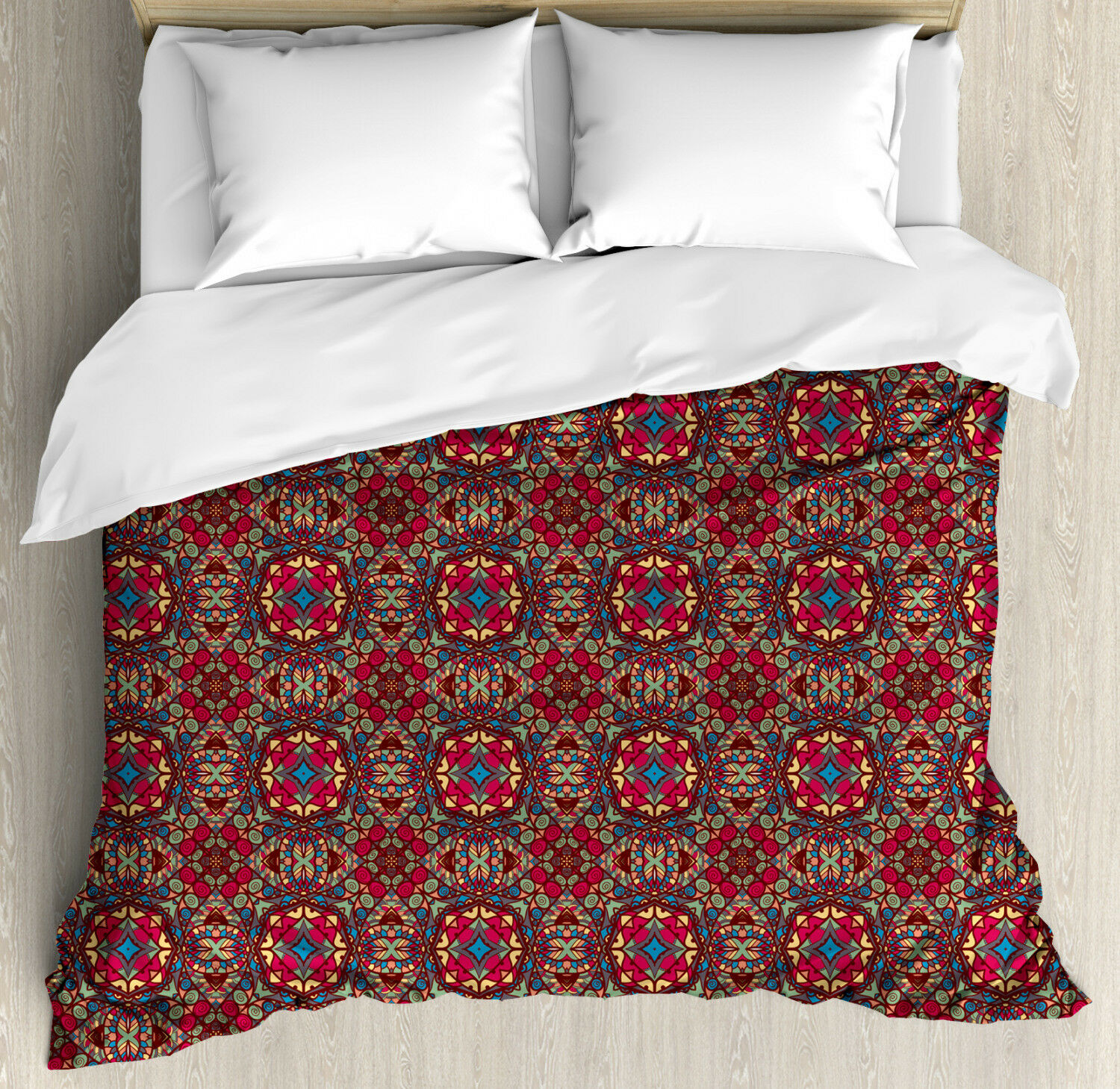 Arabesque Duvet Cover Set with Pillow Shams Vivid Oriental East Print