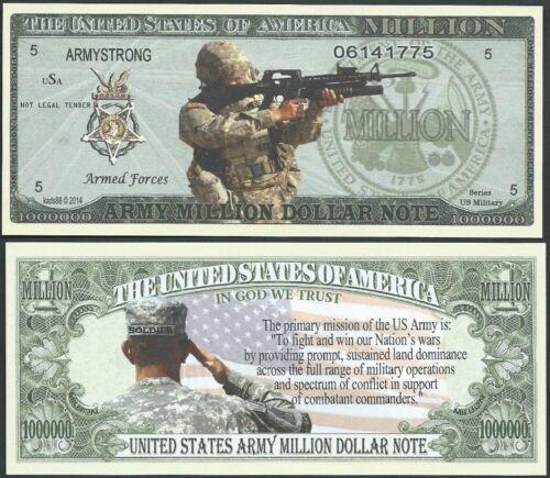 Lot of 25 BILLS - US ARMY MISSION MILLION DOLLAR BILL