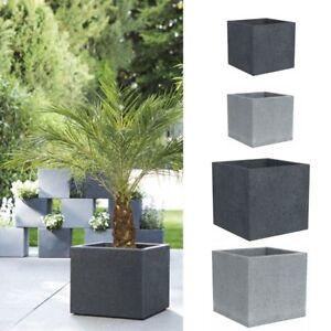 Pflanzkübel Eckig.Details Zu Scheurich Pflanzkübel Eckig 240 C Cube Pflanzwürfel Steinoptik Würfel