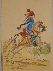 Gravure colorisée hussard du 1er Régiment- d'après Hoffmann Napoléon empire
