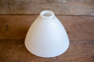 Vintage-White-Milk-Glass-Lamp-Shade-Waffle-texture-Cone-light-shade