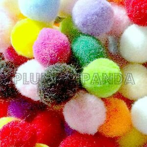 25mm-100-Mixed-Coloured-FLUFFY-POM-POMS-CRAFTS-pompoms