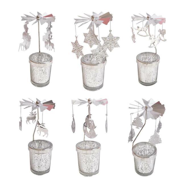 Xmas Candlestick Romantic Rotation Revolving Windmill Door Tea Light Holder 2019