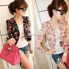 New Women Floral Print Short Blazer Coat Long Sleeve Jacket Chiffon Tops Outwear