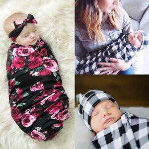 Newborn Baby Infant Swaddle Blanket Sleeping Swaddle Muslin Wrap+Headband HO