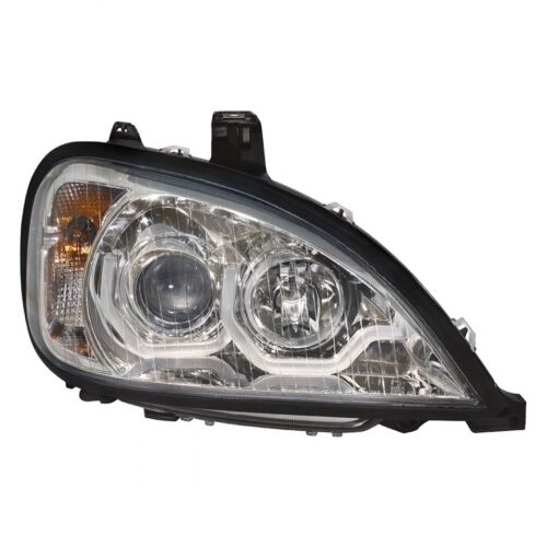 "/""Chrome/"" Freightliner Columbia Projection Headlight w Dual LED Light-Passenger"